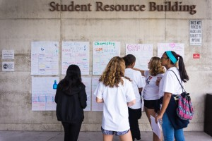 Students wait outside the Student Resource Building for workshop sessions to begin
